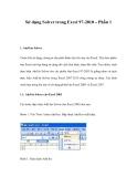 Sử dụng Solver trong Excel 97-2010 – Phần 1