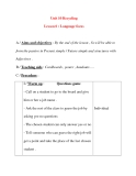 Giáo án Tiếng Anh lớp 8: Unit 10 Recycling Lesson 6 : Language focus