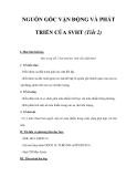 NGUỒN GỐC VẬN ĐỘNG VÀ PHÁT TRIỂN CỦA SVHT (Tiết 2)