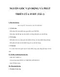NGUỒN GỐC VẬN ĐỘNG VÀ PHÁT TRIỂN CỦA SVHT (Tiết 1)