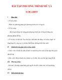 Giáo án Toán 12 ban cơ bản : Tên bài dạy : BÀI TẬP PHƯƠNG TRÌNH MŨ VÀ LOGARIT