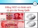 Đồng nhân dân tệ và chính sách tỉ giá ở Trung Quốc