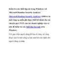 Kiểm tra các thiết lập sai trong Windows với Microsoft Baseline Security Analyzer Microsoft