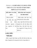 Tiết thứ 16: SỰ BIẾN ĐỔI TUẦN HOÀN TÍNH CHẤT CỦA CÁC NGUYÊN TỐ HOÁ HỌCĐỊNH LUẬT TUẦN HOÀN