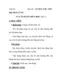 Tiết 66: ĐỘ PHẢN ỨNG  Bài 39: LUYỆN TẬP: TỐC  VÀ CÂN BẰNG HÓA HỌC (tiết 1)
