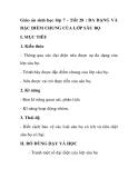 Giáo án sinh học lớp 7 - Tiết 28 : ĐA DẠNG VÀ ĐẶC ĐIỂM CHUNG CỦA LỚP SÂ BỌ