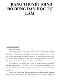 BẢNG THUYẾT MINH ĐỒ DÙNG DẠY HỌC TỰ LÀM