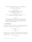 """Báo cáo toán học: """"A recurrence relation for the """"inv"""" analogue of q-Eulerian polynomials"""""""