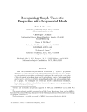 """Báo cáo toán học: """"Recognizing Graph Theoretic Properties with Polynomial Ideals"""""""