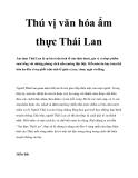 Thú vị văn hóa ẩm thực Thái Lan