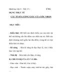 Hình học lớp 9 - Tiết 15 :  ỨNG  DỤNG THỰC TẾ CÁC TỈ SỐ LƯỢNG GIÁC CỦA GÓC NHỌN