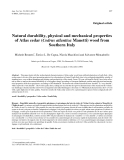 """Báo cáo khoa học: """"Natural durability, physical and mechanical properties of Atlas cedar (Cedrus atlantica Manetti) wood from Southern Italy"""""""