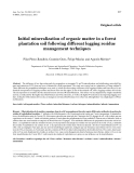 """Báo cáo khoa học: """"Initial mineralization of organic matter in a forest plantation soil following different logging residue management techniques"""""""