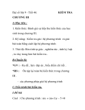 Đại số lớp 9 - Tiết 46:   KIỂM TRA