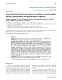 """Báo cáo y học: """" Factors affecting the long-term response to tacrolimus in renal transplant patients: Pharmacokinetic and pharmacogenetic approac"""""""