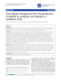 """Báo cáo y học: """"Food allergy management from the perspective of patients or caregivers, and allergists: a qualitative study"""""""