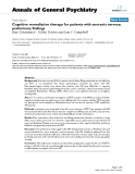 """Báo cáo y học: """"Cognitive remediation therapy for patients with anorexia nervosa: preliminary findings"""""""
