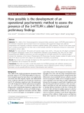"""Báo cáo y học: """"How possible is the development of an operational psychometric method to assess the presence of the 5-HTTLPR s allele? Equivocal preliminary findings"""""""