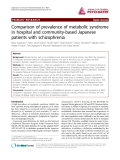 "Báo cáo y học: ""Comparison of prevalence of metabolic syndrome in hospital and community-based Japanese patients with schizophrenia"""