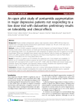 "Báo cáo y học: ""An open pilot study of zonisamide augmentation in major depressive patients not responding to a low dose trial with duloxetine: preliminary results on tolerability and clinical effects"""