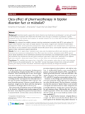 "Báo cáo y học: ""Class effect of pharmacotherapy in bipolar disorder: fact or misbelief"""