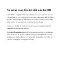 Xu hướng trang điểm hot nhất mùa thu 2011
