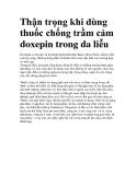 Thận trọng khi dùng thuốc chống trầm cảm doxepin trong da liễu