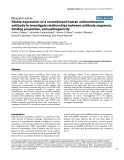 """Báo cáo y học: """"Stable expression of a recombinant human antinucleosome antibody to investigate relationships between antibody sequence, binding properties, and pathogenicity"""""""