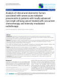 """Báo cáo khoa học: """"Analysis of clinical and dosimetric factors associated with severe acute radiation pneumonitis in patients with locally advanced non-small cell lung cancer treated with concurrent chemotherapy and intensity-modulated radiotherapy"""""""