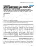 """Báo cáo y học: """"Association of the microsatellite in the 3' untranslated region of the CD154 gene with rheumatoid arthritis in females from a Spanish cohort: a case-control study"""""""