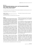 "Báo cáo y học: ""The relationship between cancer and rheumatoid arthritis: still a large research agenda"""