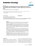 """Báo cáo khoa học: """" Developing and evaluating stereotactic lung RT trials: what we should know about the influence of inhomogeneity corrections on dose"""""""