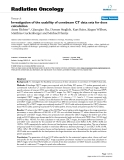 """Báo cáo khoa học: """" Investigation of the usability of conebeam CT data sets for dose calculation"""""""