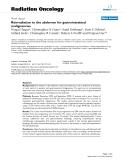 "Báo cáo khoa học: "" Reirradiation to the abdomen for gastrointestinal malignancies"""