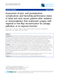 "Báo cáo khoa học: "" Assessment of peri- and postoperative complications and Karnofsky-performance status in head and neck cancer patients after radiation or chemoradiation that underwent surgery with regional or free-flap reconstruction for salvage, palliation, or to improve function"""