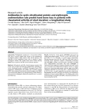 """Báo cáo y học: """"Antibodies to cyclic citrullinated protein and erythrocyte sedimentation rate predict hand bone loss in patients with rheumatoid arthritis of short duration: a longitudinal study"""""""