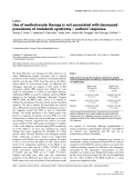 "Báo cáo y học: ""Use of methotrexate therapy is not associated with decreased prevalence of metabolic syndrome – authors' respons"""