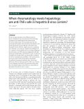 """Báo cáo y học: """"When rheumatology meets hepatology: are anti-TNFs safe in hepatitis B virus carriers"""""""