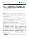 "Báo cáo y học: ""TRAF1/C5 polymorphism is not associated with increased mortality in rheumatoid arthritis: two large longitudinal studies"""