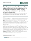 "Báo cáo y học: ""B-lymphocyte stimulator/a proliferation-inducing ligand heterotrimers are elevated in the sera of patients with autoimmune disease and are neutralized by atacicept and B-cell maturation antigen-immunoglobulin"""