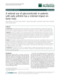 """Báo cáo y học: """"A rational use of glucocorticoids in patients with early arthritis has a minimal impact on bone mass"""""""