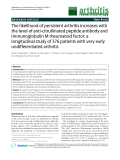 """Báo cáo y học: """"The likelihood of persistent arthritis increases with the level of anti-citrullinated peptide antibody and immunoglobulin M rheumatoid factor: a longitudinal study of 376 patients with very early undifferentiated arthritis"""""""