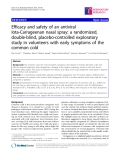 """Báo cáo y học: """" Efficacy and safety of an antiviral Iota-Carrageenan nasal spray: a randomized, double-blind, placebo-controlled exploratory study in volunteers with early symptoms of the common cold"""""""