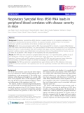 """Báo cáo y học: """" Respiratory Syncytial Virus (RSV) RNA loads in peripheral blood correlates with disease severity in mice"""""""
