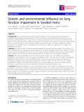 """Báo cáo y học: """"Genetic and environmental influence on lung function impairment in Swedish twins"""""""