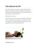 Liệu pháp spa tại nhà