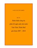 Đề tài: Hoàn thiện công tác phân bổ ngân sách nhà nước Tỉnh Thừa Thiên Huế giai đoạn 2007 – 2010
