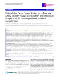 "Báo cáo y học: "" Krüppel-like Factor 5 contributes to pulmonary artery smooth muscle proliferation and resistance to apoptosis in human pulmonary arterial hypertension"""