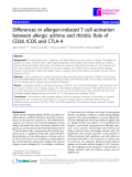 """Báo cáo y học: """" Differences in allergen-induced T cell activation between allergic asthma and rhinitis: Role of CD28, ICOS and CTLA-4"""""""
