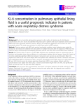 """Báo cáo y học: """"  KL-6 concentration in pulmonary epithelial lining fluid is a useful prognostic indicator in patients with acute respiratory distress syndrome"""""""